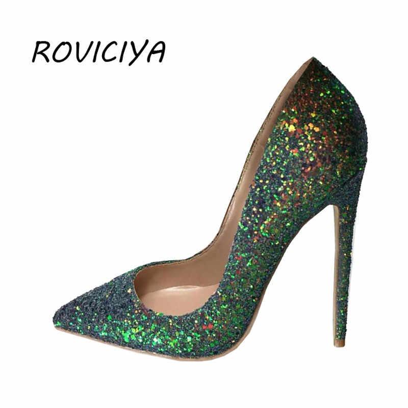 b99d6c9a86 Green Glitter bling bling wedding shoes 12 cm high heel pumps sexy stiletto  heels party shoes for women LF004 ROVICIYA