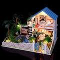 Tamanho grande casa de bonecas em miniatura com mobiliário de madeira feitos à mão 3D diy casa brinquedos para adultos amantes casa ideal crianças