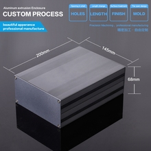 145*68*300mm  Aluminium Extruded Electronic Enclosure Solar Junction Box metal box enclosure black color