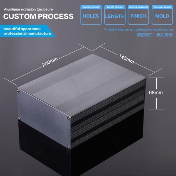 145*68*300mm Aluminium Extruded Electronic Enclosure Solar Junction Box metal box enclosure black color