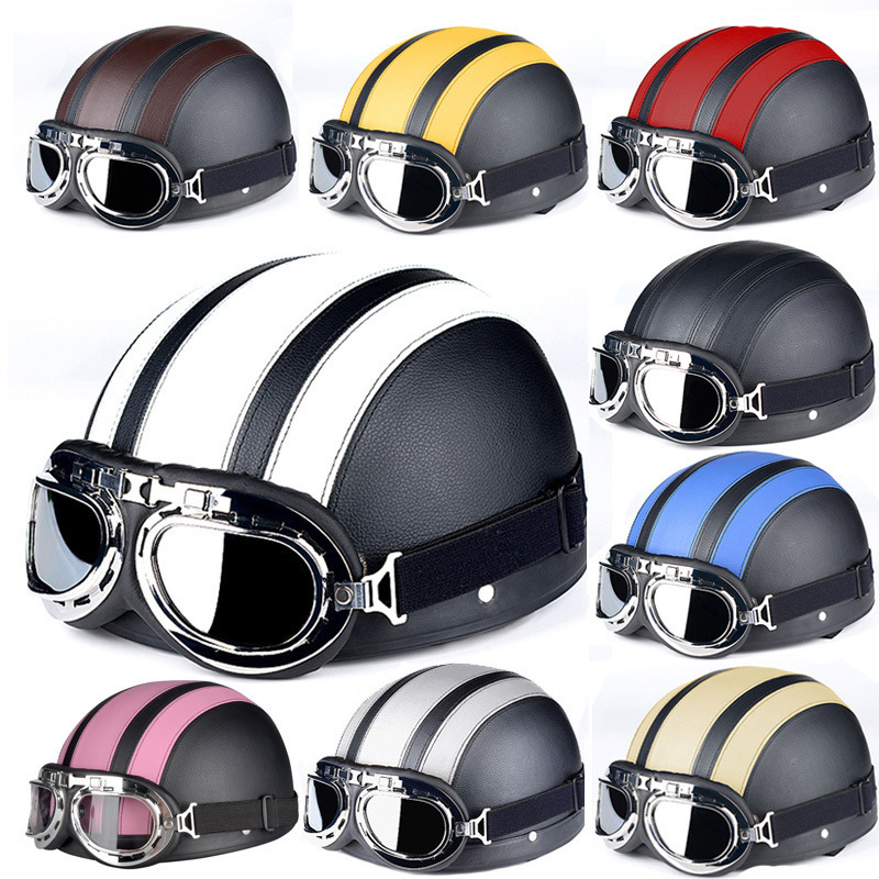 Retro Motorcycle Helmet Synthetic Leather Open Face Detachable Helmets With Visor Goggles Adjustable Halley coloured helmet