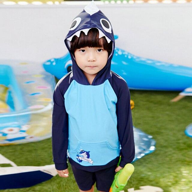 e4df11d03b Cool 3D Shark Design Boy Long Sleeves Sunscreen Swimwear with a Hood Baby  Bathing Suit Child