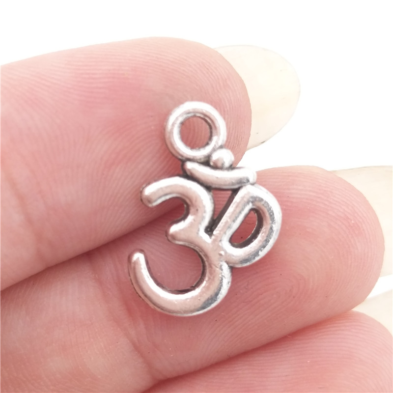 BULK 30pcs Alloy Antique Silver Tone Om Ohm Aum Symbol Yoga Charms Pendants for DIY Jewelry Making 15.8*10.7mm 0.8g