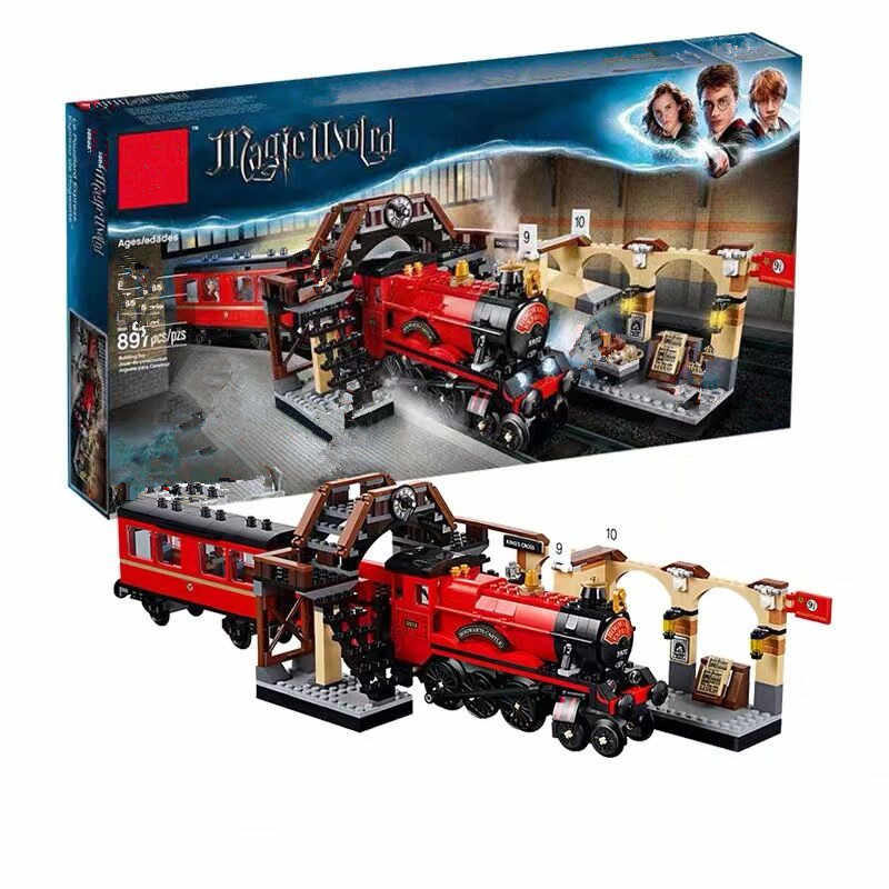 New fit Magic Academy Ron Hermione Express Set Train Building Blocks Bricks Kids boys Toys for Christmas Gift