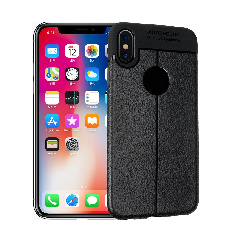 Case For iPhone XS X Case Silicone Cover Leather Texture