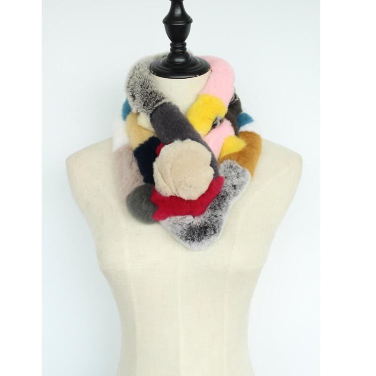 natural rex rabbit fur scarves fur collar women warm winter neck warmer genuine fur stoles soft fashion femme wraps scarf female