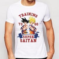 2019 Newest Men Fashion Super Saiyan T shirt Cool Tops Dragon Ball Printed Short Sleeve Tees Shirts Harajuku Adults White Tshirt