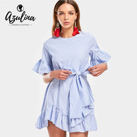 AZULINA Bell Sleeve Ruffled Striped Belted Dress Blue Summer Fashion Women S New Dresses Vestidos Casual