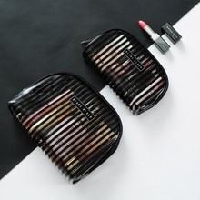 Travel Storage water proof zipper openning PVC Transparent black stripe women large/small Cosmetic bag/case/wash bag/inside bag