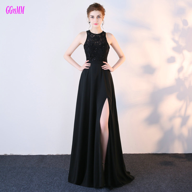 Fashion Black Long   Prom     Dresses   2019 New Sexy Party Evening Gowns O-Neck Chiffon Lace Beading Backless Floor-Length   Prom     Dress