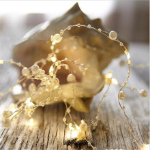 Factory sales Pearl Copper Wire String Light Warm White Fairy Lights  Valentines Wedding Decoration Christmas
