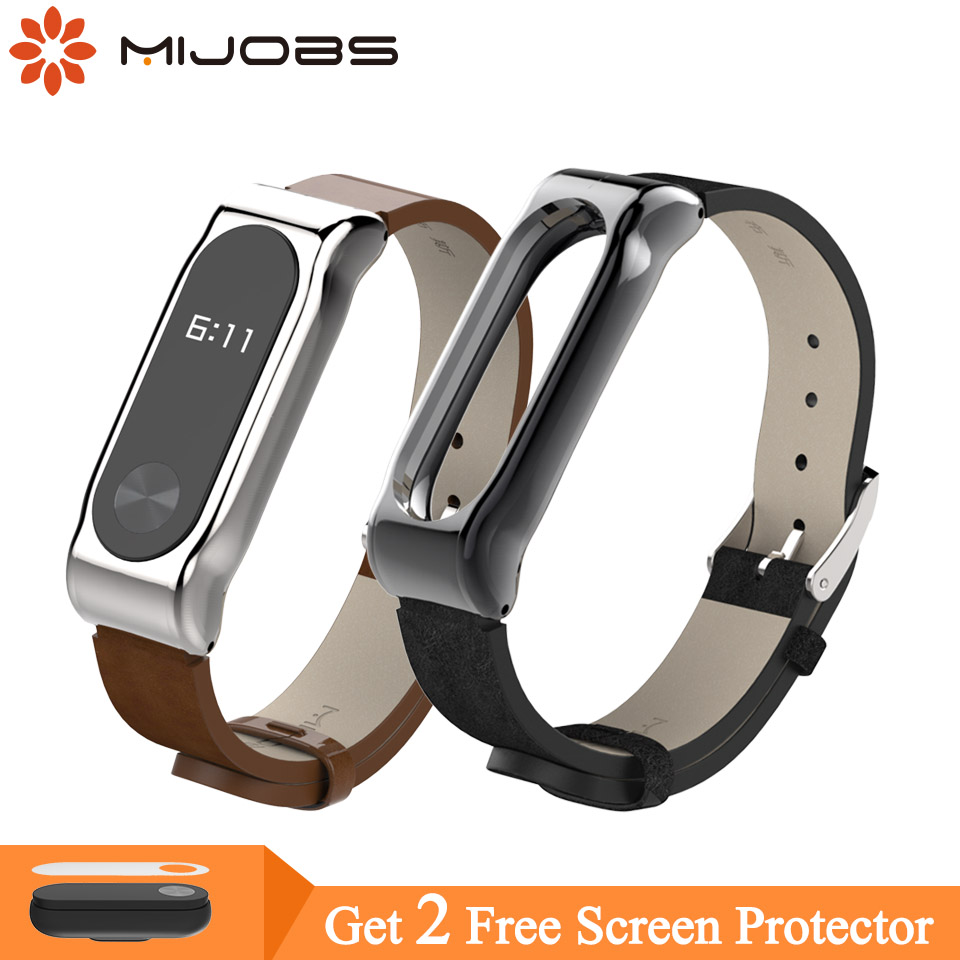 Mijobs PU Leather Strap For Xiaomi Mi Band 2 Metal Frame MiBand 2 Smart Bracelet PU Plus Leather Strap For Mi Band 2 Accessories