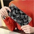 Mulheres carteiras bolsa carteiras de couro coreano borboleta impressão carteira feminina
