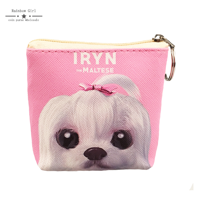 12 pcs Rainbowgirl New Cute Dog Wallets for Children Pink Big Eyes Coin purse Zipper Key Ring Women Purses Small Wallet Kids Bag