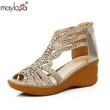 MAYLOSA summer Wedged Sandals Female Genuine Leather Open Toe Rhinestone  Sandalias Cowhide Diamond Shoes Big Size 5fcab87c0e1a