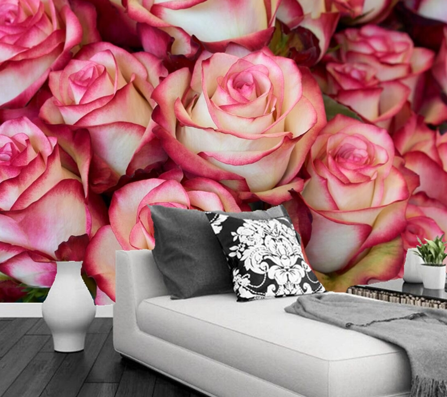 Papel de parede Roses Closeup Flower wallpaper,hotel living room TV sofa wall bedroom kitchen 3D stereoscopic wallpaper murals custom 3d murals cartoon wolf papel de parede hotel restaurant coffee shop living room sofa tv wall children bedroom wallpaper