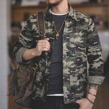 MADDEN simple boutonnage multi poche M à XXL taille Camouflage veste revers utilitaire ciré décontracté toile coton militaire veste