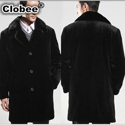 2017 New Winter Black Mink Coat Windbreaker Vetement Men's Long Style Turn-Down Collar Casual Faux Fur Coat Plus Size XXXL V557