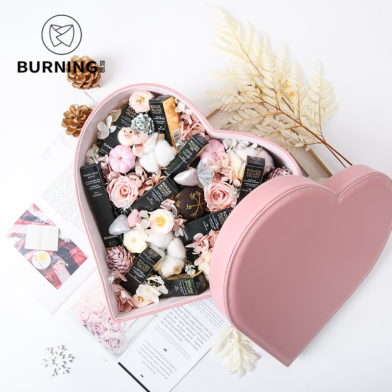 27x30x13.5cm Big love flower box leather heart shaped gift box Valentine's Day wedding Christmas birthday flower box