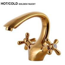 Роскошные Высокое качество Горячая/холодной бассейна кран Двойной Ручки ванной золото смеситель