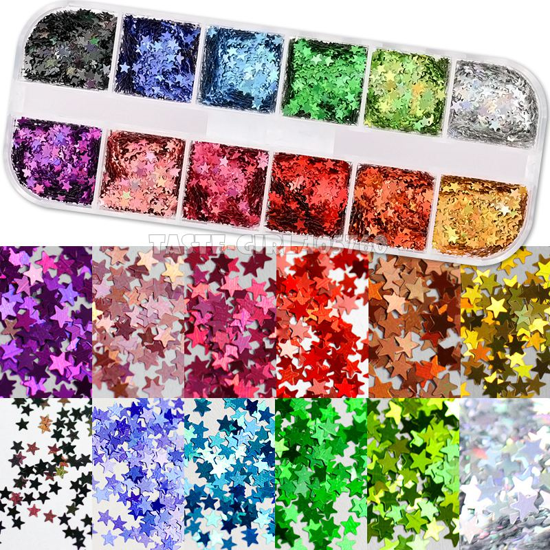 12 Grids/Set High Quality 12 Colors Mix 3 Sizes Glitter Holographic Pentagram Stars Sequin Nail Art Paillette Decals DIY CT14