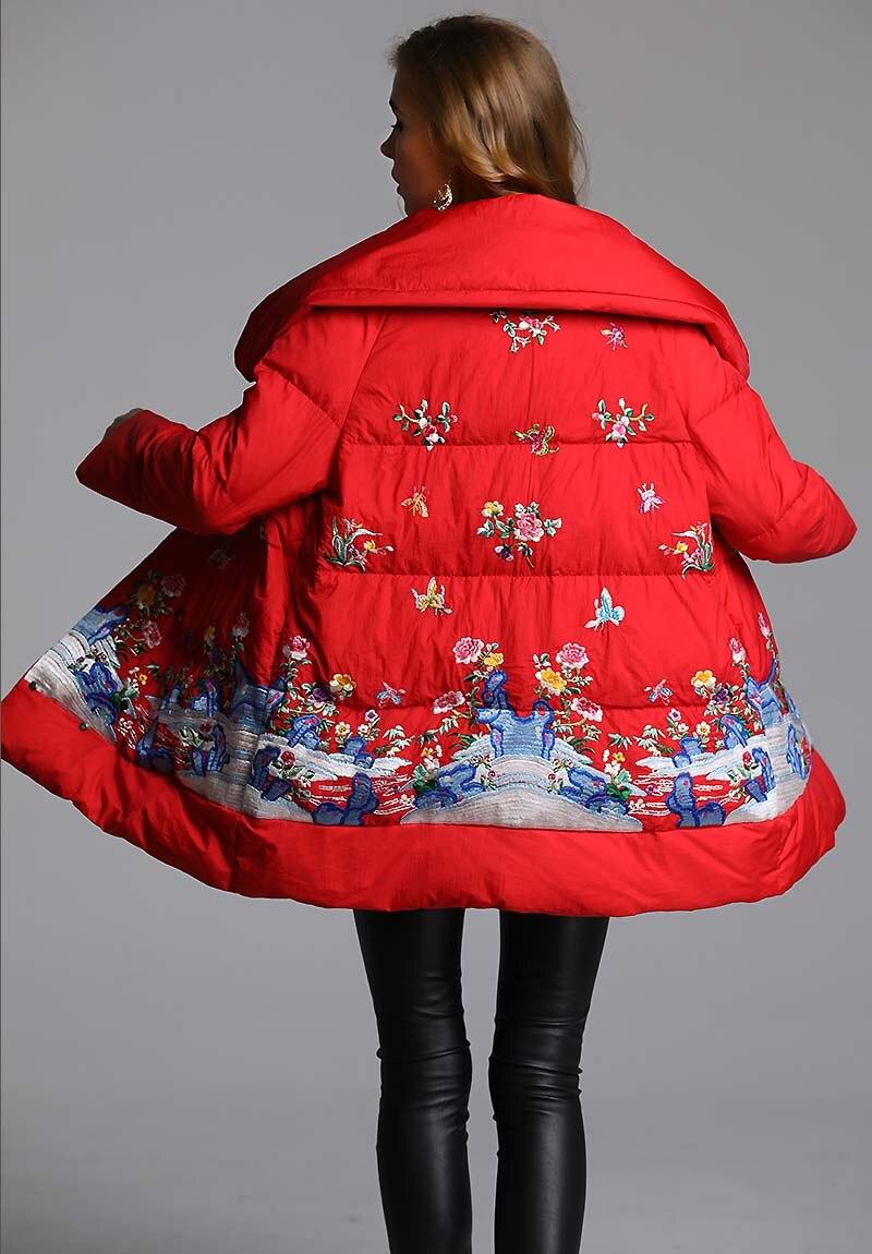 Canard Femelle Manteau Lady Floral Duvet Vers D'hiver Le Bas Royal Noir Vintage Parkas xxl Lâche rouge M Femmes Blanc Veste De Broderie Fleurs wpUqxnga