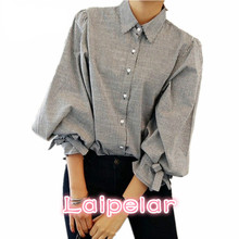 Laipelar Women shirt New Fashion Striped Lantern Sleeve Turn-down Collar Bow Long sleeve Blouse Women Top cloth недорого