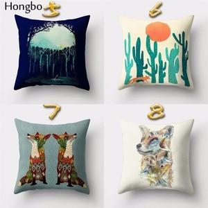 Image 3 - Hongbo housse de coussin carrée avec motif de dessin animé de renard, pour canapé, décoration de la maison, 1 pièce