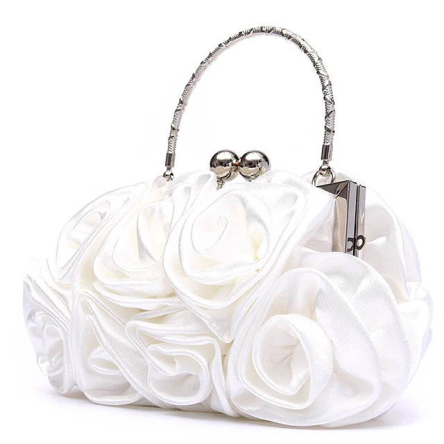 New 2018 satin Hot Fashion Floral Ladies day Clutch Bag Women Evening Party Prom Bridal Diamante Baguette White 5 colors summer 4