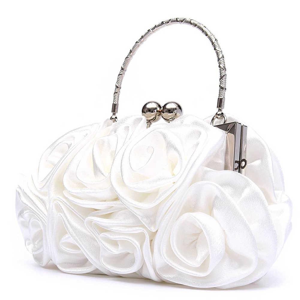 a7f0dea54f9d ... Новинка 2018, атласная Модная Цветочная женская сумка-клатч на день,  женская вечерняя сумочка ...