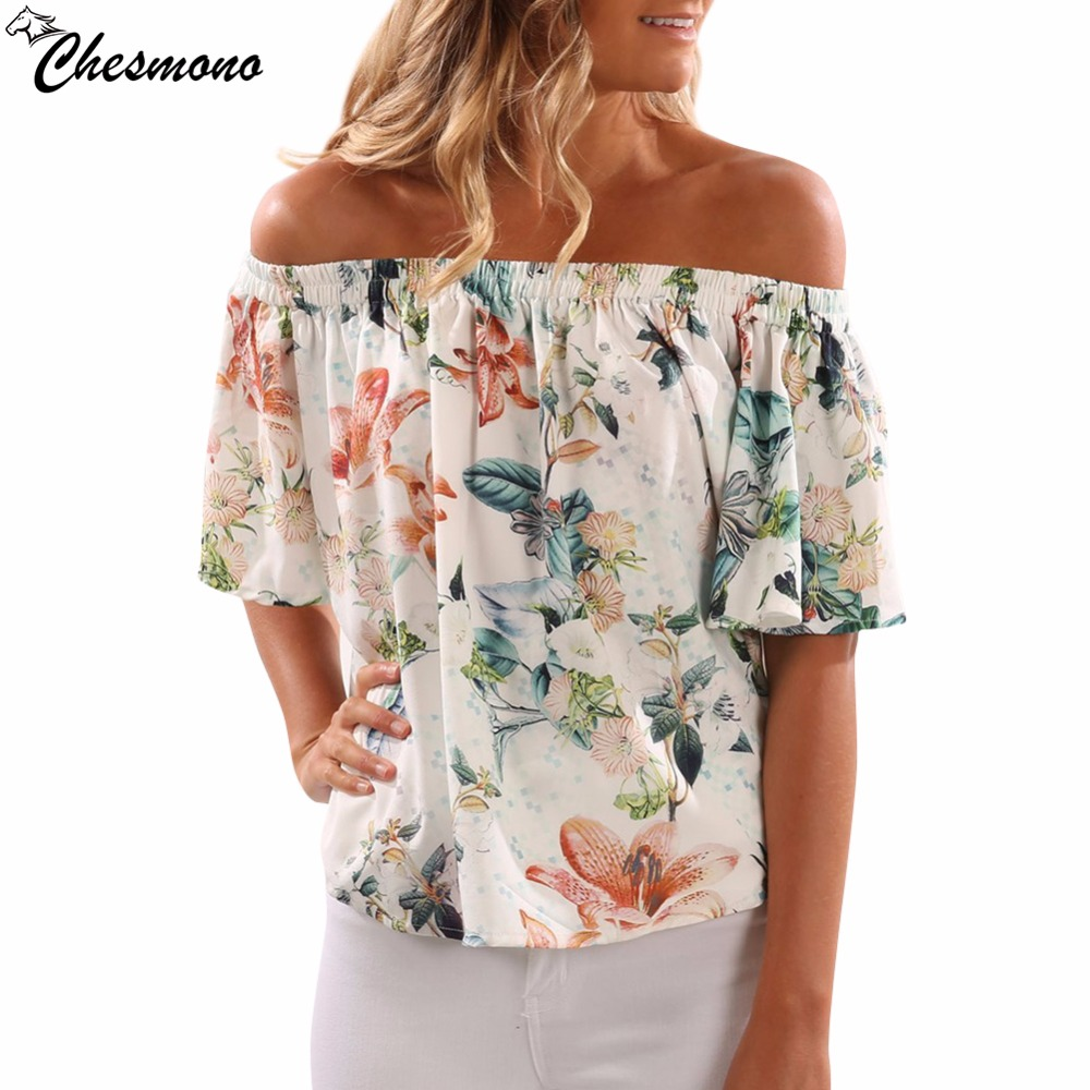 Floral print off shoulder Women tops cool short sleeve female tshirt Sexy loose flower before short after long sexy fashion tops ...