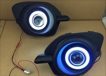 eOsuns Innovative COB angel eye led daytime running light DRL + halogen Fog Light + Projector Lens for Mitsubishi Pajero sport