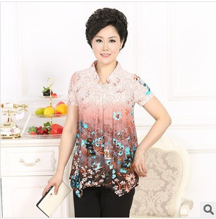 eccd9f8aca Middle-age women mother clothing summer 2014 floral print quinquagenarian clothes  plus size short-sleeve T-shirt