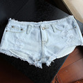 Mulheres/Lady Denim Hotpants Calções Espólio Mini Angustiado Desgastado Rip Vintage Faded 047-4172