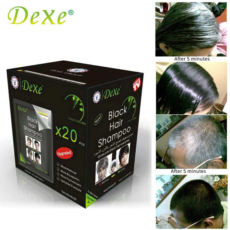 20pcs/lot Dexe Black Hair Shampoo Only 5 Minutes Grey Hair Removal Dye Hair Coloring
