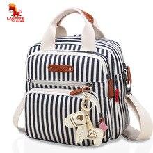 Yüksek seviye tuval renkli anne bebek bezi çantası bebek bezi çanta analık anne kadın sırt çantası/çanta/postacı üç in bir çanta
