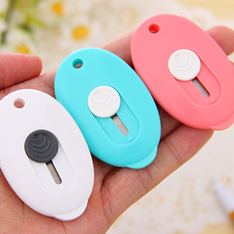 Cute Kawaii Safe Utility Knife With Plastic Protective Shell Creative Mini Stationery Box Cutter For Kids Office School