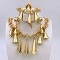 BAUS Nueva Exquisito África Dubai Chapado En Oro de La Joyería de Lujo Gran Boda Nigeriano Beads Africanos Joyería Conjunto Traje Nuevo Diseño