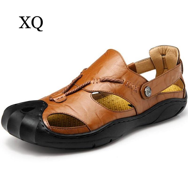 High quality Men sandals Fashion Genuine leather Sandals Men Summer Slippers Breathable flat Sandalias Hombre