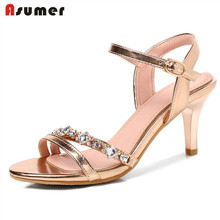 ASUMER 2018 fashion summer women sandals wedding party shoes buckle gold and silver color shoes woman high heels sheos