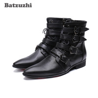 Korean Fashion Pointed Toe Winter Men Boots Black Genuine Leather Short Boots Man Motorcycle Military botas hombre Safety