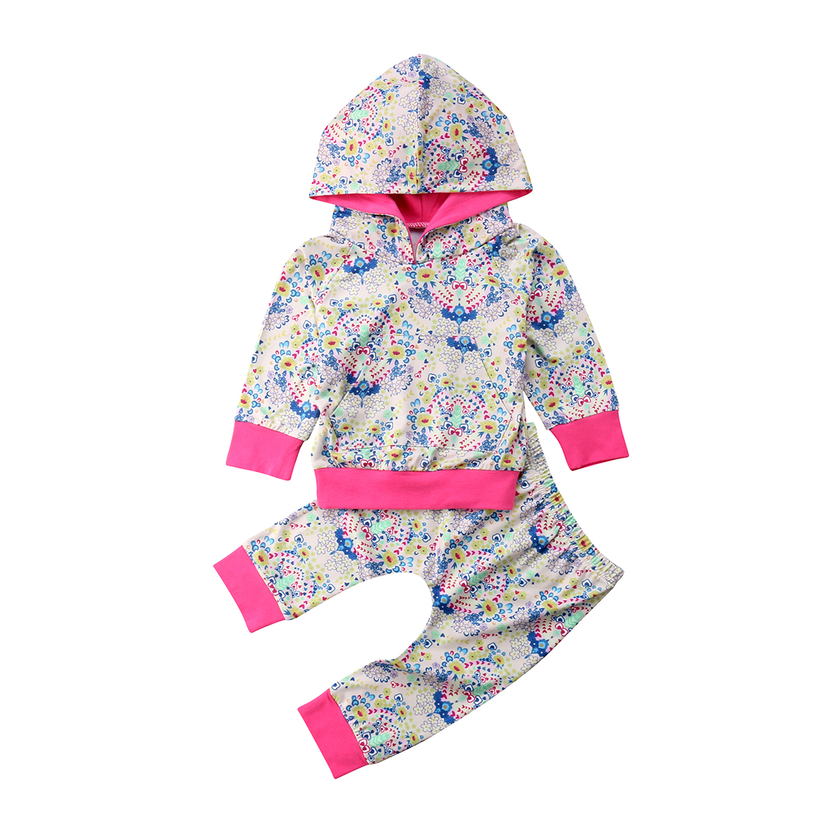 The Wild Casual 2pcs Newborn Kids Baby Hoodie T-shirt Tops Floral Pants Outfit Clothes Set Stylish Novel