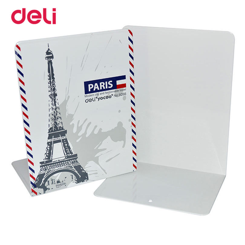 Deli One Pair a lot Book Holder Book File Bookends Creative Design Metal Stand Home Office Desk For School Bookends цена