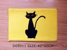 Front door mat bathroom mat/ soft warm strong water absorption D05011 BLACK CAT carpet with anti-slip back 40*60cm