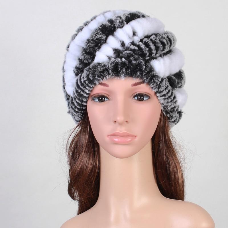Lady Real Knitted Rex Rabbit Fur Skullies Beanies Hats Autumn Winter Genuine Women Fur Caps Female Headgear Ear Protector 1060