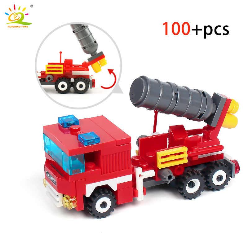 348 шт. пожарные 4в1 грузовики автомобиль-Вертолет Лодка строительные блоки Совместимость с legoingly городской пожарный кирпич детские игрушки