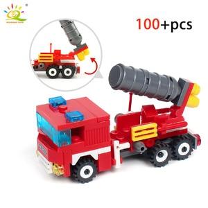 Image 4 - HUIQIBAO 348 pièces lutte contre lincendie 4in1 camions voiture hélicoptère bateau blocs de construction ville pompier Figures homme briques enfants jouets