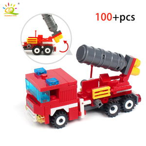 Image 4 - HUIQIBAO 348pcs Fire Fighting 4in1 Trucks Car Helicopter Boat Building Blocks City Firefighter Figures Man Bricks Children Toys