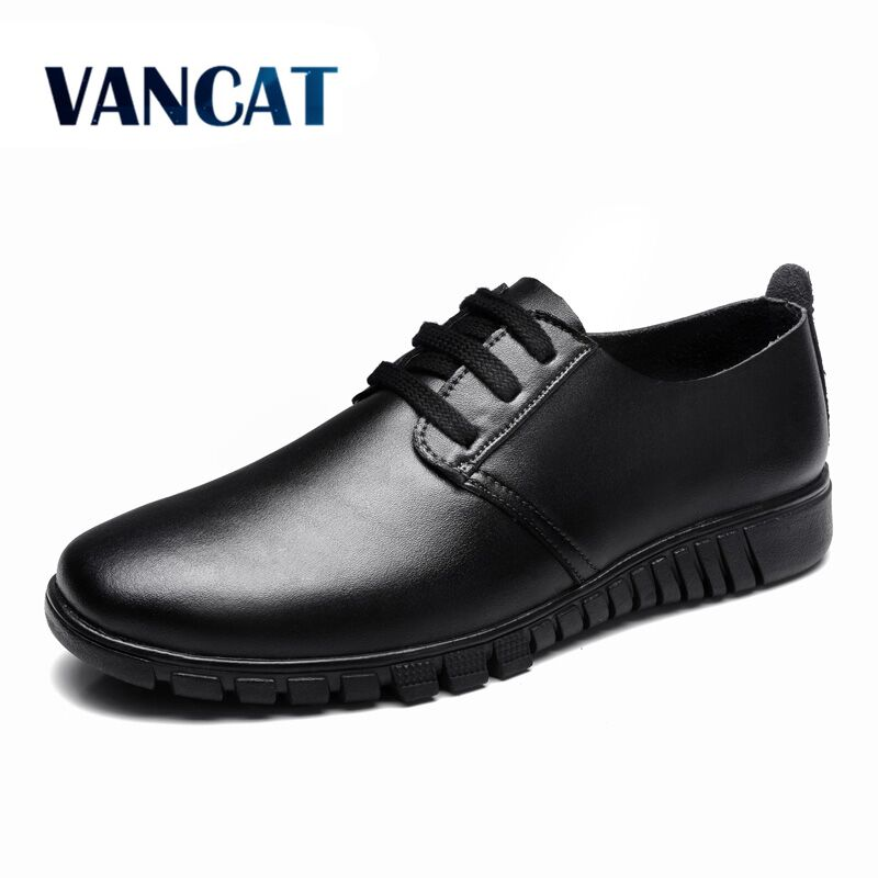 VANCAT 2018 New Summer Genuine Leather Men Shoes Casual Breathable Shoes Oxfords Men Dress Leather Flats Shoes Big size 38-47