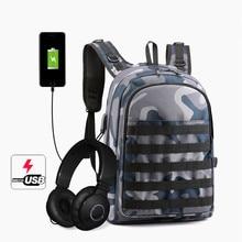 PUBG Backpack Men SchoolBag Mochila Game Battlefield Infantry Pack Travel School Bags USB Charging Jack Back Knapsack Male